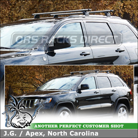 2012 Jeep Grand Cherokee Roof Rack Cross Bars using Thule 460R Rapid Podium (w/ 460R Foot Pack, 4019 Fit Kit, ARB47 AeroBlade Load Bars)