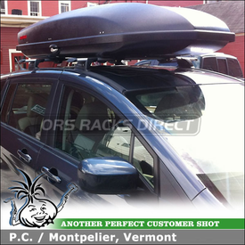 2012 Mazda 5 Roof Rack Luggage Box for RoofTop Fixed-Points using Whispbar S16 Through Bar and Yakima Sky Box 18