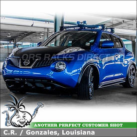 2012 Nissan Juke Car Rack Wind Fairing System - Yakima Q Towers, Q 6 Clips and 38 inch Fairing