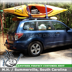 2012 Subaru Forester Factory Roof Rack Kayak Carriers - Thule 834 Hull-a-Port