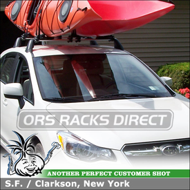 2012 Subaru Impreza Kayak Rack for 2 Kayaks using Inno INA450 Two Kayak Carrier