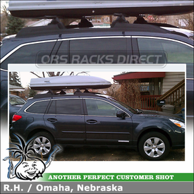 "2012 Subaru Outback Roof Rack Cargo-Luggage-Ski Box System using Yakima Control Towers (w/ Landing Pads 12 & 58"" Crossbars) and Thule Roof Box"