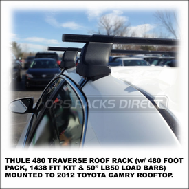 2012 Toyota Camry Roof Rack using Thule 480 Traverse (includes Foot Pack, 1438 Fit Kit & LB50 Load Bars)