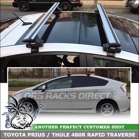 2012 Toyota Prius Solar Roof Rack Cross Bars using Thule 480R Rapid Traverse (w/ 1566 Fit Kit Clips & ARB53 AeroBlade Load Bars)