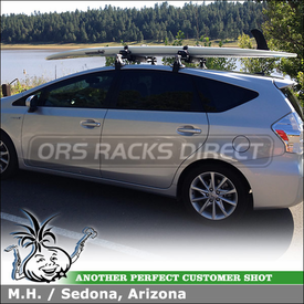 2012 Toyota Prius V Roof Rack + Locking SUP Carrier Using Inno IN SU (