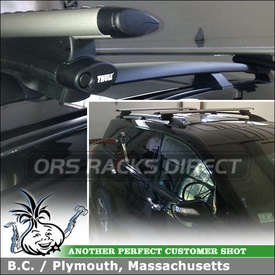 Aerodynamic Roof Car Rack for Factory Side Rails on a 2009 Acura MDX