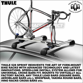 All-New 528 Thule Sprint Bike Rack - Rooftop Adjustable Bike Tray