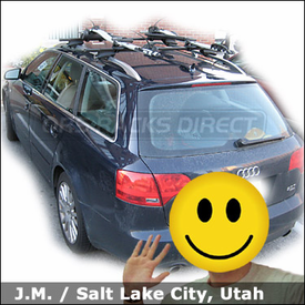 Audi A4 Bike Roof Rack with Thule 450 Crossroad Base System and Thule 598 Criterium Bike Racks