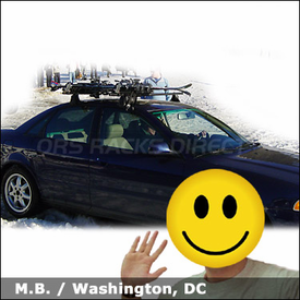 Audi A4 Ski Roof Rack with Yakima Q Towers System & Buttondown Aero Ski-Snowboard Carrier