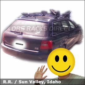 Audi A6 Car Rack for Kayaks with Thule 450 CrossRoad Roof Rack & 883 Kayak Carriers