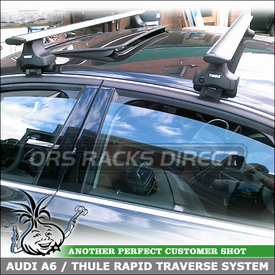 Audi A6 Roof Rack AeroBlade Cross Bars System using Thule 480R Rapid Traverse Foot Pack, 1591 Fit Kit and ARB53 Load Bars