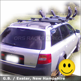 Audi AllRoad Roof Rack for Kayak with Thule 450 CrossRoad System & 897XT Hullavator Side-Loading Kayak Rack