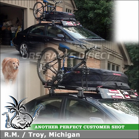 "Bicycle Holder & Cargo-Luggage Bag On 2008 Honda Civic Roof Rack using Yakima Q Towers (w/ Q131, Q99 Clips & 58"" Crossbars), FarOut Pro and CopperHead"