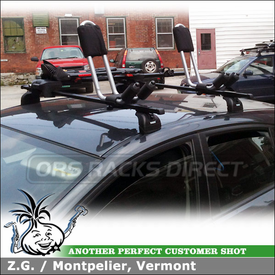Bike and Kayak Racks Mounted to 2011 Subaru Impreza Roof Rack Cross Bars using Thule 460 Podium System (w/ 3068 Fit Kit & LB50 Bars), Thule 834 Hull-a-Port & Yakima FrontLoader