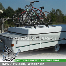 Bike Roof Rack Tracks System to Carry Bicycles on 1999 Coleman Utah Pop-Up Camper Rooftop