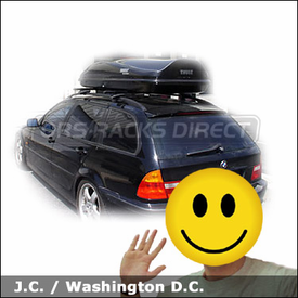 BMW 3 wagon with Thule 450 Crossroad Roof Rack and Thule Cargo Box