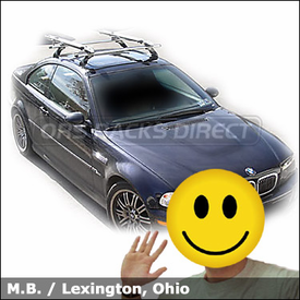 BMW M3 with Thule 400XTR Rapid Aero Roof Rack and Thule 590 V2 Bike Racks