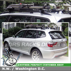 BMW X3 SUV Roof Rack Bike Mount Using Yakima LowRider System U0026 HighRoller  Bike Rack