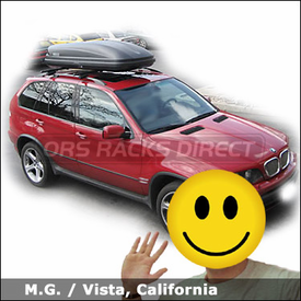 BMW X5 Luggage Roof Rack with Thule 450 CrossRoad System and Thule 604 Ascent 1600 Gear Box