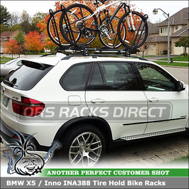 BMW X5 Roof Bikes Racks Using Inno INA388 Tire Hold Bicycle Carriers