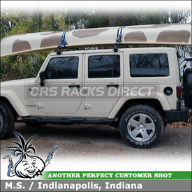 Canoe Roof Rack for Rain Gutters On 2011 Jeep Wrangler Sahara Hard Top