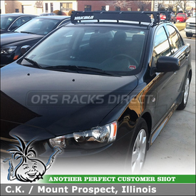 "Car Rack Cross Bars and Wind Fairing for 2011 Mitsubishi Lancer ES using Yakima Q Towers System (w/ Q 99 Clips, 48"" Crossbars) & 44"" Noise Deflector Shield"