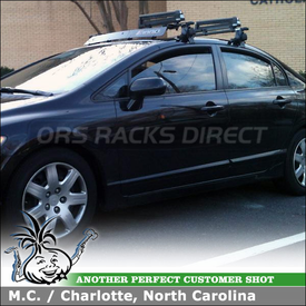 Car Rack Ski Carrier with Wind Deflector on a 2008 Honda Civic Sedan