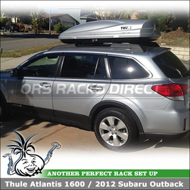 Car Rooftop Luggage Box for 2012 Subaru Outback Factory Rack Crossbars using Thule 686XT Atlantis 1600 Cargo Container