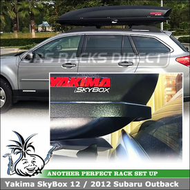 Cargo Container for 2012 Subaru Outback Factory Rack Cross Bars using Yakima SkyBox 12 Cargo Luggage Roof Box