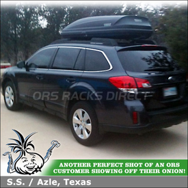 Cargo Gear Box On 2011 Subaru Outback Factory Rack Crossbars using Thule 604 Ascent 1600 Luggage Roof Box