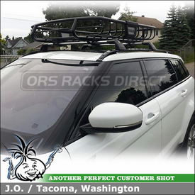 Cargo-Luggage Basket for 2012 Range Rover Evoque Factory Roof Rack Crossbars using Thule 690XT M.O.A.B. Roof Basket