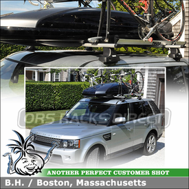Cargo-Luggage Box + 2 Bike Racks for 2012 Land Rover Range Rover Sport Roof Rack using Thule 480R Rapid Traverse (w/ 1456 Fit Kit & ARB60 AeroBlades), 518 Echelon & 611 Boxter