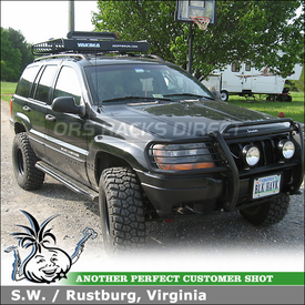 Cargo Roof Basket and Snowboard-Ski Rack Mounted to 2001 Jeep Grand Cherokee Factory Rack Crossbars