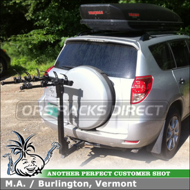 Cargo Roof Box and Trailer Hitch Bike Rack for Toyota RAV4 using Yakima SkyBox 18 Luggage Box & Thule 956 ParkWay 4 Bike Hitch Rack