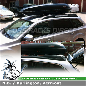 Cargo Roof Box for 2012 Subaru Outback Factory Rack Cross Bars using Yakima RocketBox Pro 11 Luggage Container