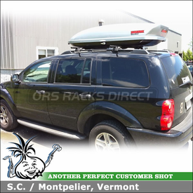 Dodge Durango Roof Rack Cargo Box using Yakima RailGrab Kit & Yakima SkyBox Pro 16 Gear Box