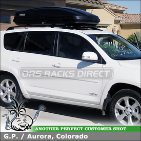 Factory Rack Compatible Cargo Luggage Rack for 2010 Toyota RAV4 Factory Cross Bars using Thule 686BXT Atlantis 1600 Roof Box