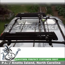 Fishing Rod Rack for Ford F150 Camper Shell Rooftop using Yakima ButtonDown Aero Ski Rack-Fishing Rods Rack