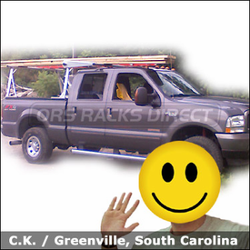 Ford F350 Pickup Truck Rack with TracRac Track Rack System and Cantilever Extension