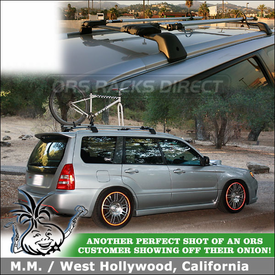 Fork Mount Bike Racks on 2004 Subaru Forester STI Factory Rack Crossbars using Two RockyMounts TieRod Bicycle Racks