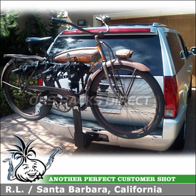 Four Bike Rack for Trailer Receiver Hitch on a Cadillac Escalade Using 9029 Thule Vertex
