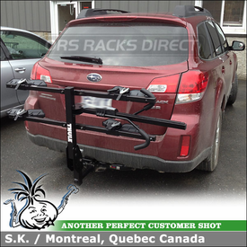 Hitch Bike Rack for 2 Bikes Installed On 2012 Subaru Outback Curt Trailer Hitch Reciever