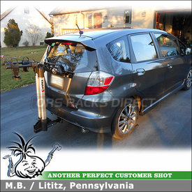 """Hitch Bike Rack for 2012 Honda Fit Sport 1-1/4"""" Trailer Hitch Receiver using Inno INH302 Aero Light 2 Bicycle Rear Carrier"""