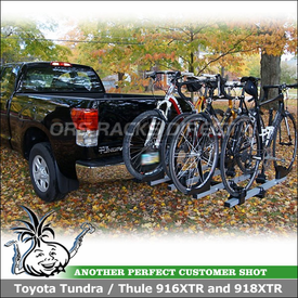 "Hitch Bike Rack for 2012 Toyota Tundra 2"" Trailer Hitch Receiver using Thule 916XTR T2 Platform Bike Rack & 918XTR T2 Add-On"