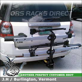 Hitch Bike Rack for Land Rover LR2 Trailer Hitch Receiver using Thule 916XTR T2 Platform Bike Rack