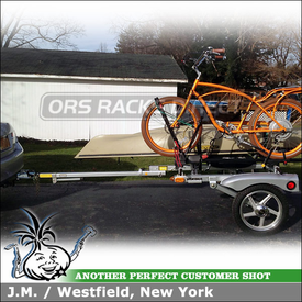 """Honda Accord Hitch Mount Trailer for Boat & Bike using 66"""" Yakima RACKandROLL Trailer, FrontLoader, KeelOver, Spare Tire & Kick Stand"""