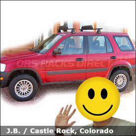 Honda CR-V Roof Rack for Skis & Snowboards with Yakima Q Towers System and Buttondown Ski-Snowboard Carrier
