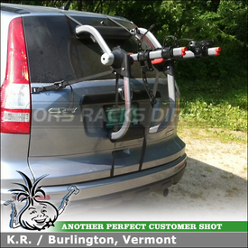 Honda CRV Rear Door Strap Rack for 2 Bikes Using Yakima KingJoe Pro Trunk Mount Bike Rack