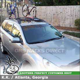 Inno Car Roof Fairing and Two RockyMounts TieRod Bike Racks for 2011 Subaru Outback Factory Cross Bars