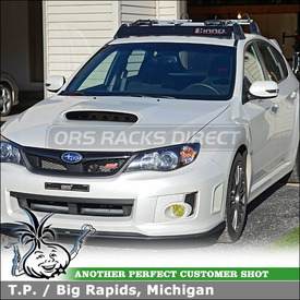 Inno Factory Rack Wind Fairing and RockyMounts TieRod Bike Racks on 2012 Subaru Impreza STI OEM Cross Bars